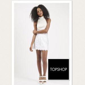 TOPSHOP White Crochet Mini Skirt